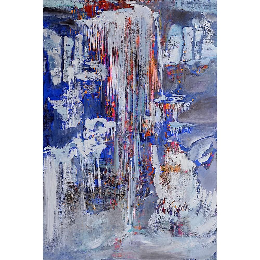 Turturi pe Jiu - pictură în acrilic pe pânză, artist Cristina Marian