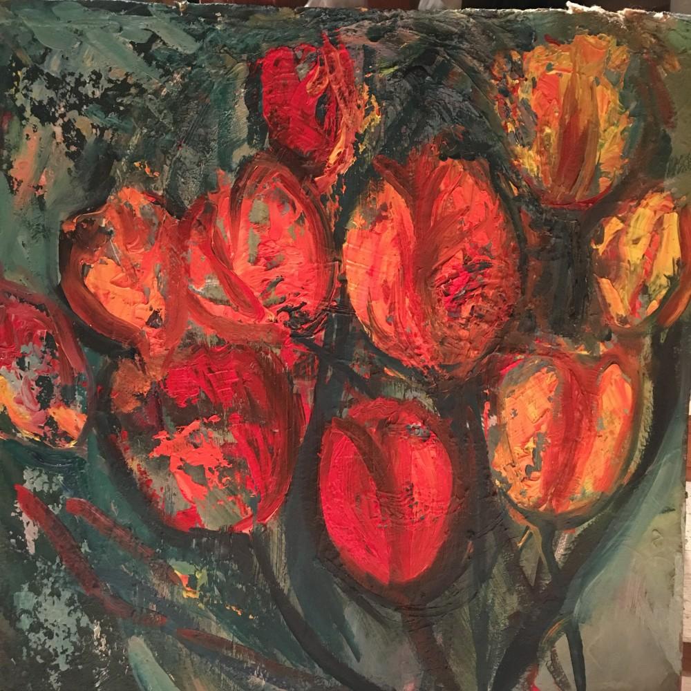 Focuri vii I - pictură în ulei pe carton, artist Cristina Marian