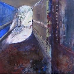 Pasaj albastru - pictură în ulei pe pânză, artist Cristina Marian