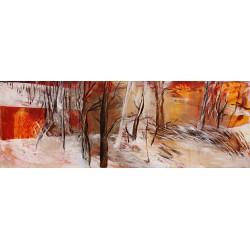 Iarna - pictură în ulei pe  pânză, artist Cristina Marian