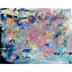 Pink - pictură în ulei pe plastic, artist Cristina Marian