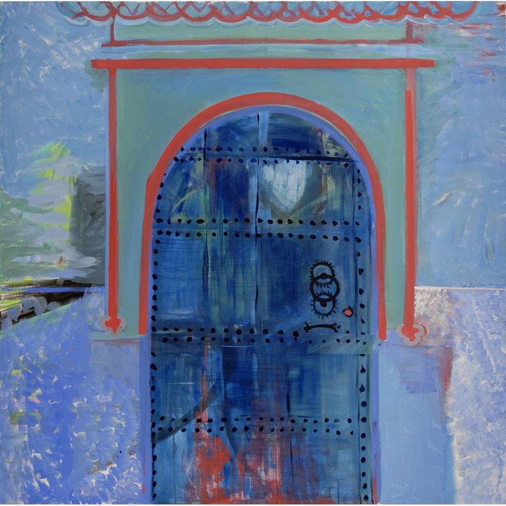 Poarta albastră - pictură în acrilic pe  pânză, artist Cristina Marian
