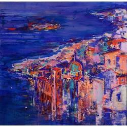 Violet de seară - pictură în acrilic pe pânză, artist Cristina Marian
