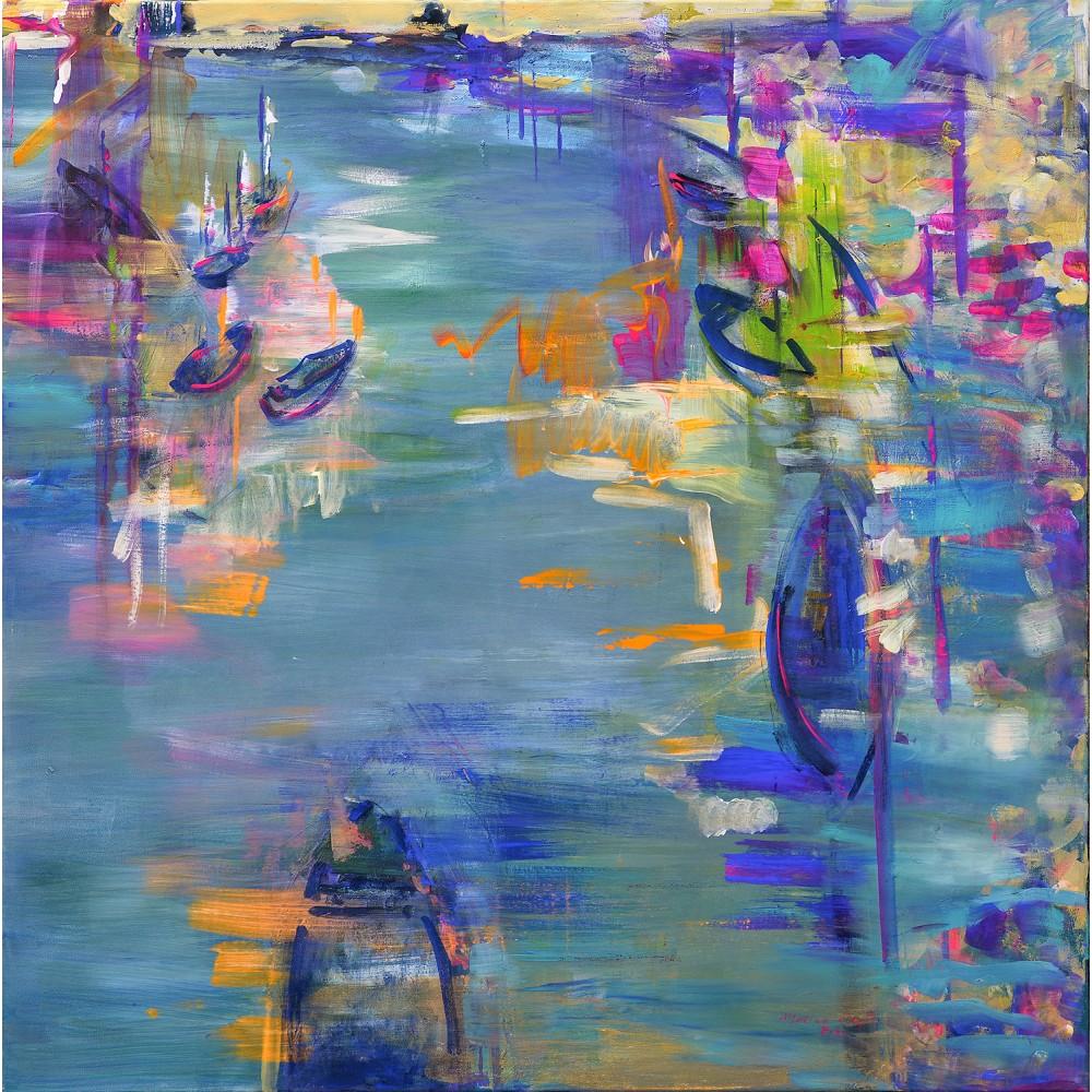 Port - pictură în ulei pe pânză, artist Cristina Marian