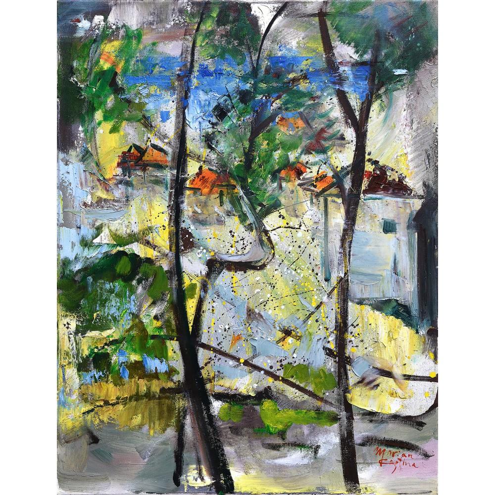 Fereastră spre mare - pictură în ulei pe pânză, artist Cristina Marian