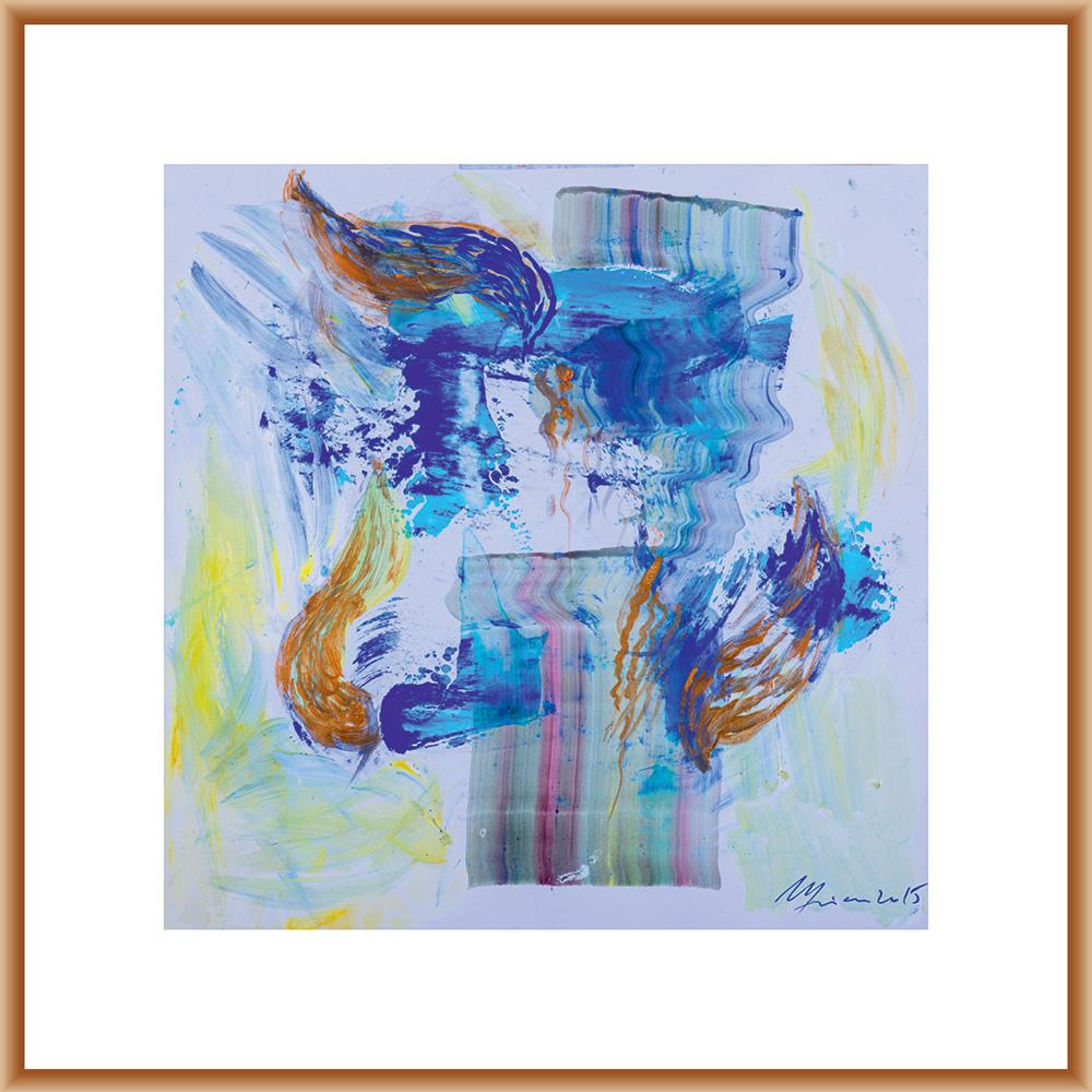 Interferențe I - pictură în acrilic pe hârtie, artist Cristina Marian