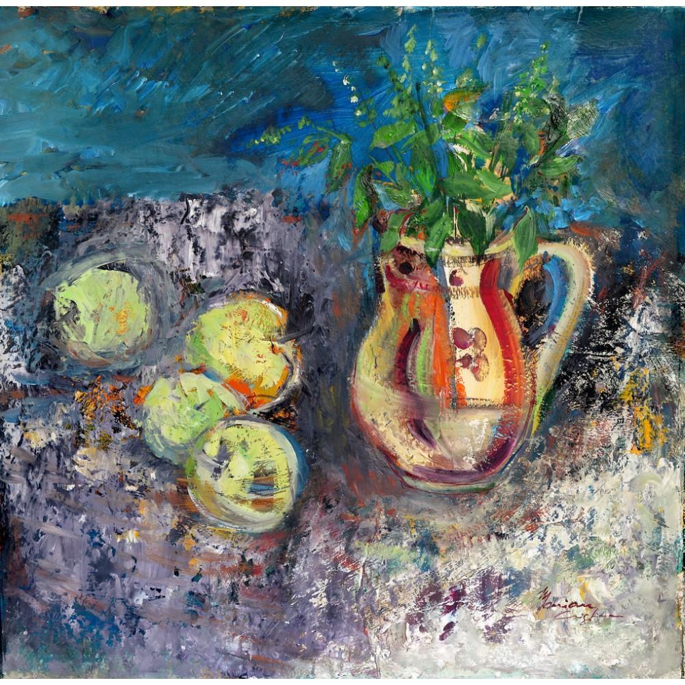 Green apples - pictură în ulei pe carton, artist Cristina Marian