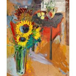 Summer in my studio - pictură în ulei pe carton, artist Cristina Marian