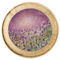 Livada - pictură în ulei pe lemn, foiță aur, artist Adrian Hunyadi