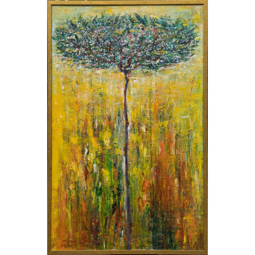 Arbore Jonathan Tame - pictură în ulei pe pânză, foiță aur, artist Iurie Cojocaru