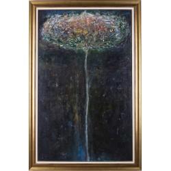 Copac în noapte - pictură în ulei pe pânză, artist Iurie Cojocaru