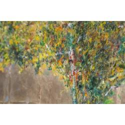 Copacul meu - pictură în ulei foiță aur, pe suport tare, artist Iurie Cojocaru
