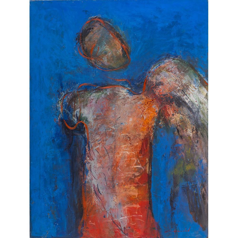 Înger pe albastru - pictură în ulei pe pânză, artist Iurie Cojocaru