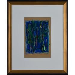 Dialog în albastru - pictură în ulei pe carton, artist Iurie Cojocaru