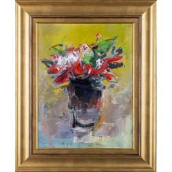 Flori de primăvară II - pictură în ulei pe carton pânzat, artist Iurie Cojocaru