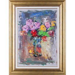 Florile din geam - pictură în ulei pe carton pânzat, artist Iurie Cojocaru