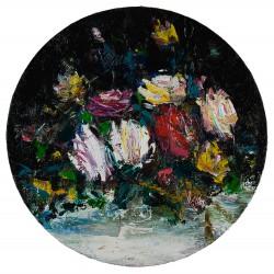 Flori în cerc  II- pictură în ulei pe pânză, artist Iurie Cojocaru