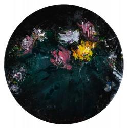 Flori în cerc I - pictură în ulei pe pânză, artist Iurie Cojocaru