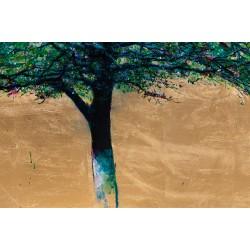 Amiază - pictură în ulei pe pânză, foiță aur, artist Iurie Cojocaru