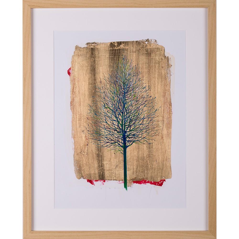 Aura - grafică pe hârtie, foiță aur, artist Iurie Cojocaru
