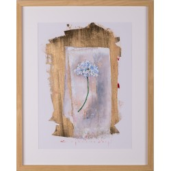 Mărturisire - grafică pe hârtie, foiță aur, artist Iurie Cojocaru
