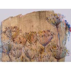 Spre soare - grafică pe hârtie, foiță aur, artist Iurie Cojocaru
