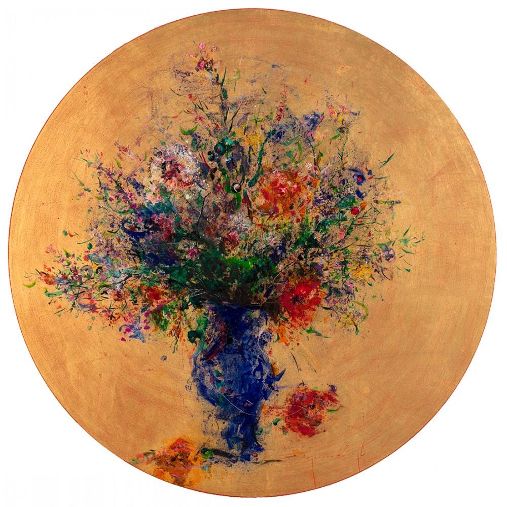Ultramarin - pictură în ulei pe lemn, foiță aur, artist Iurie Cojocaru