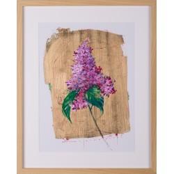 Mireasmă de primăvară - grafică pe hârtie, foiță aur, artist Iurie Cojocaru