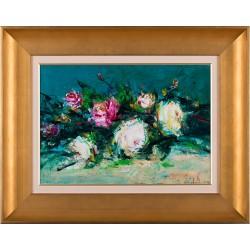 Masa cu flori - pictură în ulei pe carton, artist Iurie Cojocaru