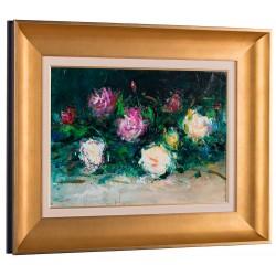 Masa cu flori II - pictură în ulei pe carton, artist Iurie Cojocaru