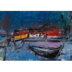 Bărci I - pictură în ulei pe carton, artist Iurie Cojocaru