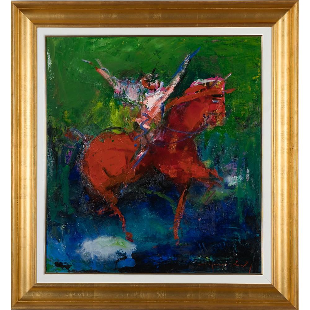 Călăreț în sărbătoare - pictură în ulei pe pânză, artist Iurie Cojocaru