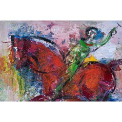 Călărețul I - pictură în ulei pe pânză, artist Iurie Cojocaru
