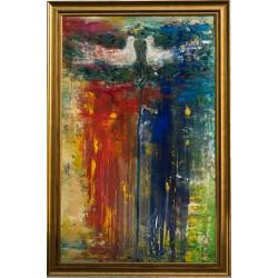 Copacul cu păsări - pictură în ulei pe pânză, artist Iurie Cojocaru