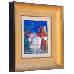 Margine de sat - pictură în ulei pe carton, artist Iurie Cojocaru