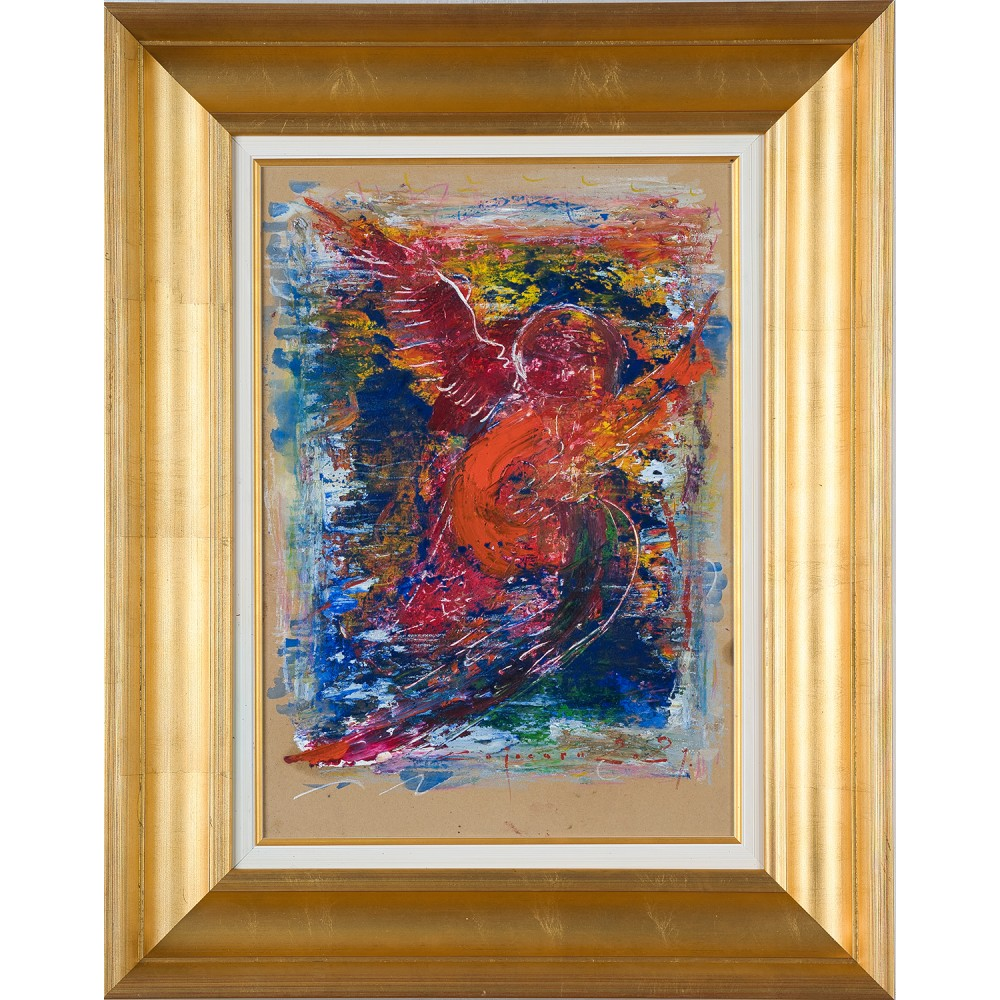 Îngerul Gabriel - pictură în ulei pe carton, artist Iurie Cojocaru