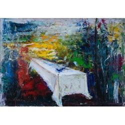 Așternut de primăvară - pictură în ulei pe pânză artist Iurie Cojocaru