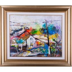 Peisaj cu stâlp - pictură în ulei pe pânză, artist Iurie Cojocaru