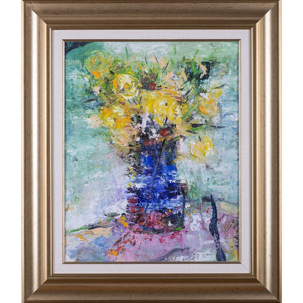 Vas albastru - pictură în ulei pe pânză, artist Iurie Cojocaru