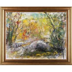 Podul - pictură în ulei pe carton, artist Iurie Cojocaru