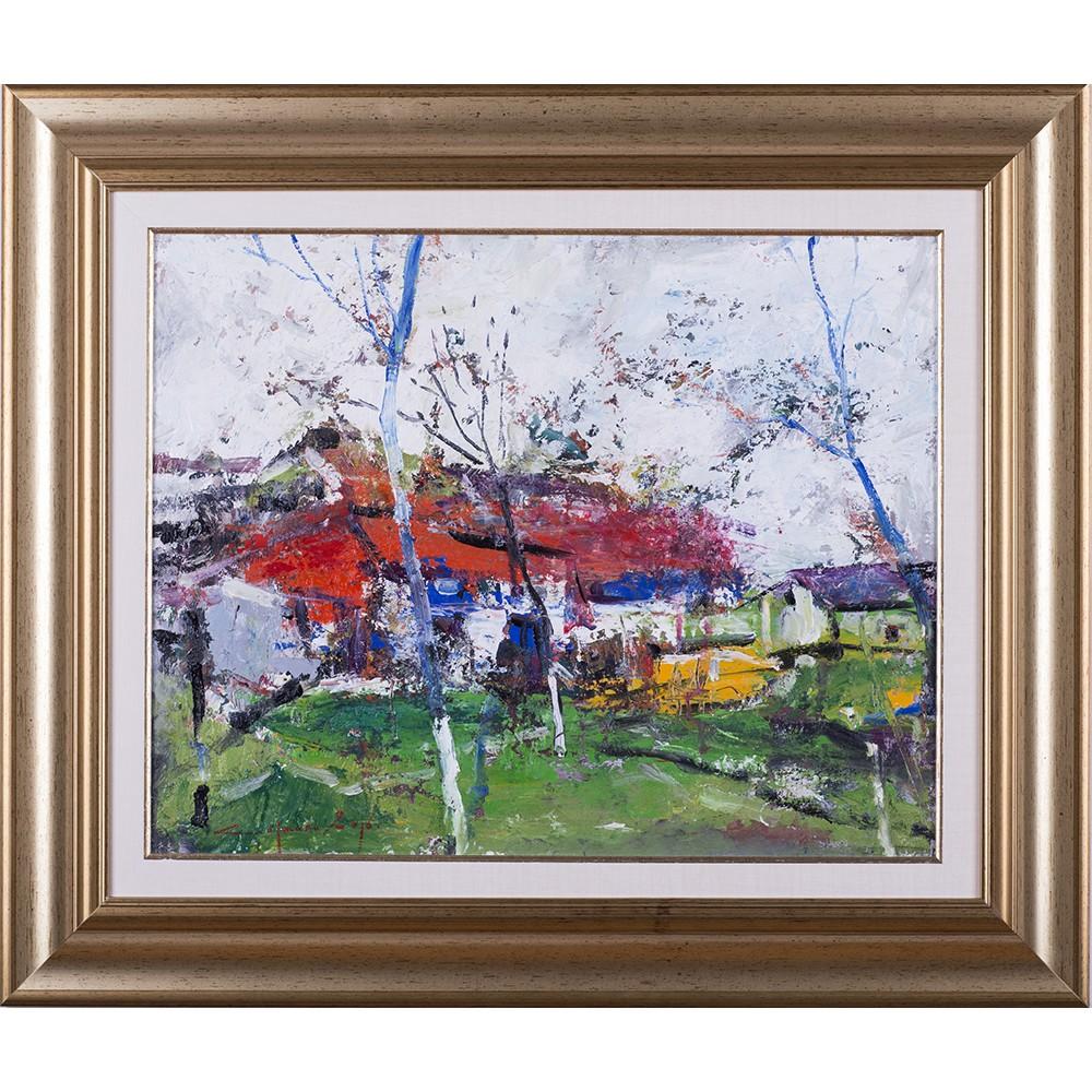 Început de primăvară - pictură în ulei pe carton, artist Iurie Cojocaru