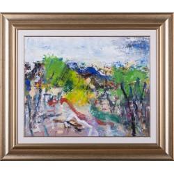 Amintiri din satul natal - pictură în ulei pe pânză, artist Iurie Cojocaru