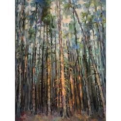 Lumină în desiș - pictură în ulei pe pânză, artist Petru Leahu