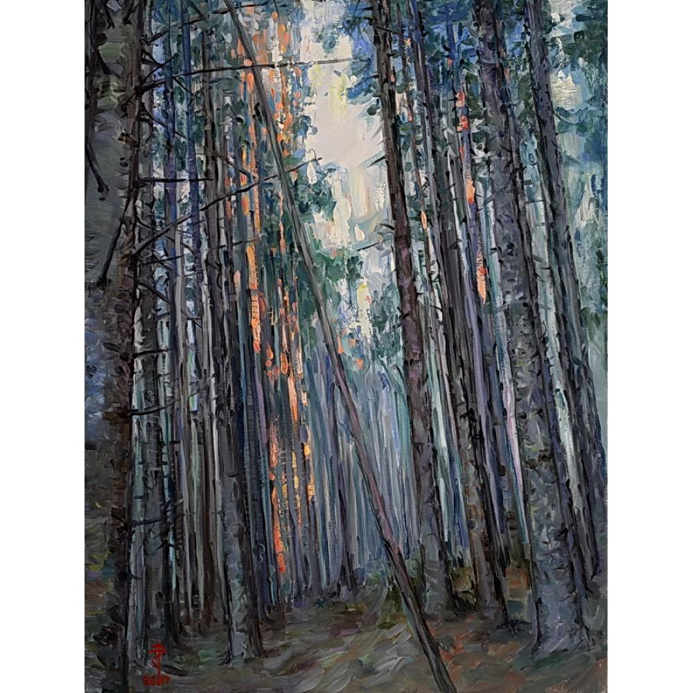 Urcuș spre lumină - pictură în ulei pe pânză, artist Petru Leahu