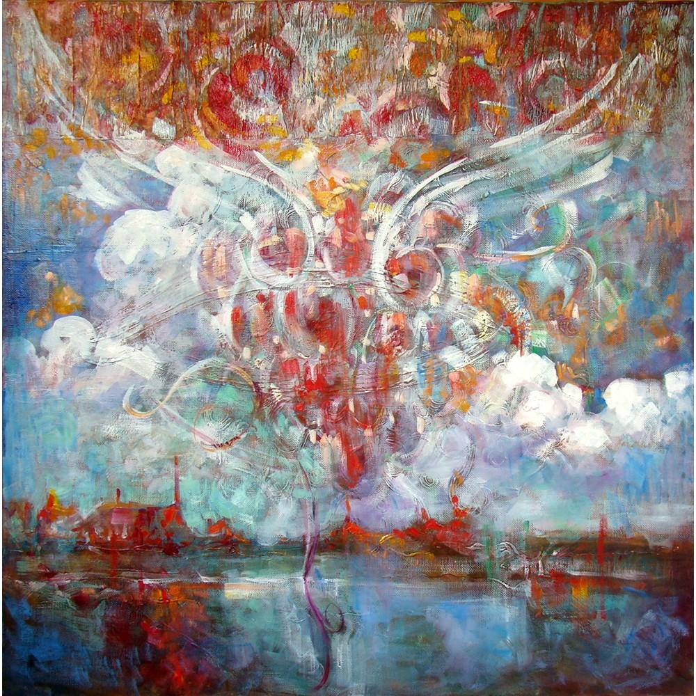 Tulburarea apei - pictură în ulei pe pânză, artist Petru Leahu